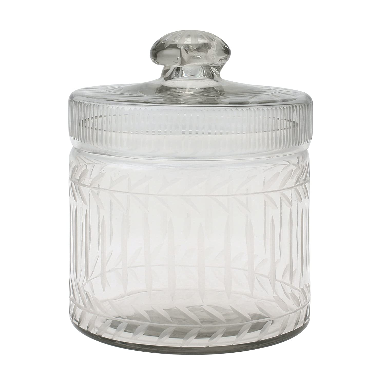 Amazon Com Stonebriar Clear Cut Glass Storage Container
