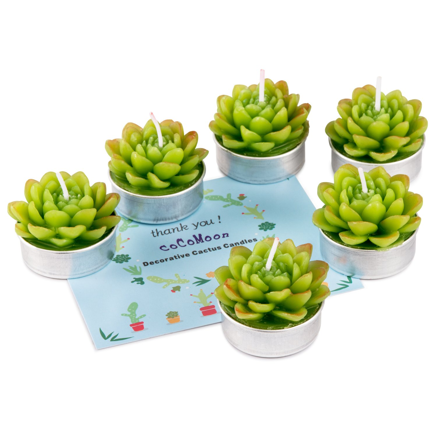 COCOMOON Cactus Candles, Handmade Delicate Succulent Cactus Candles Perfect Cactus Tealight Candles for Birthday Party,Wedding, Spa, Home Decor Birthday Wedding Party( 6 Pcs) Cactus Candles 6Pcs