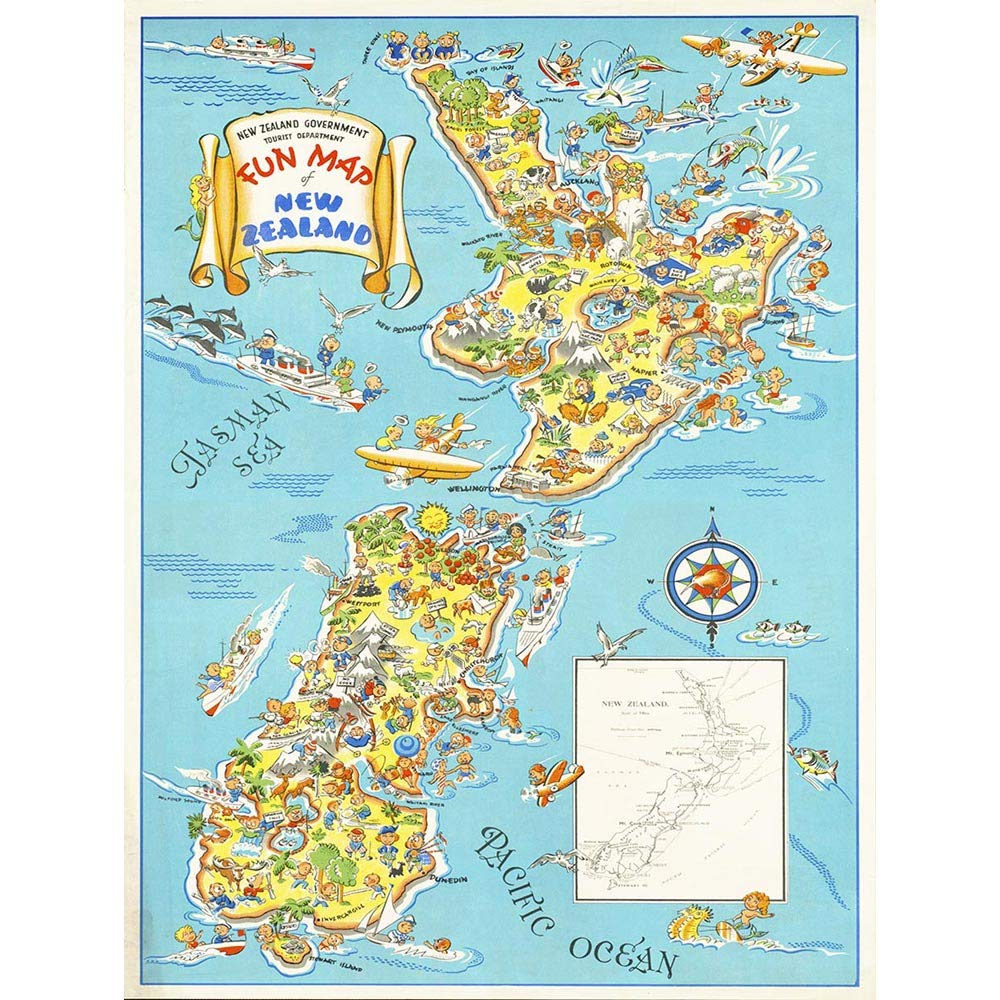 Map Of New Zealand North Island.Amazon Com Wee Blue Coo Map Zealand North South Island Tourism