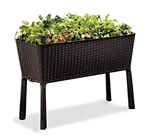 Keter Easy Grow Patio Garden Flower Plant Planter Raised Elevated Garden Bed, Brown