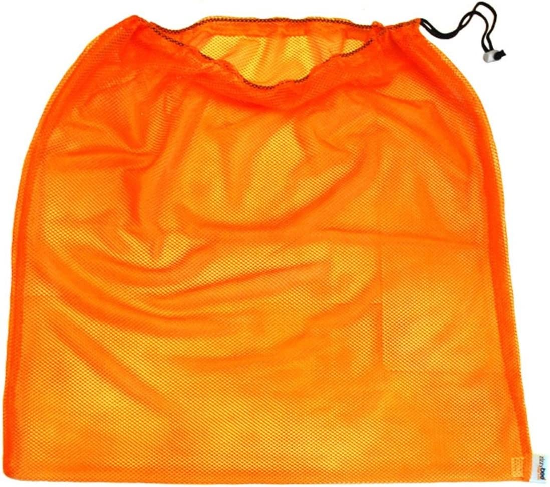 "Laundry Bag – Eco-Friendly Reusable Mesh Travel Organizer for Clothes – Machine Wash with Drawstring – 24"" x 24"" (Orange)"