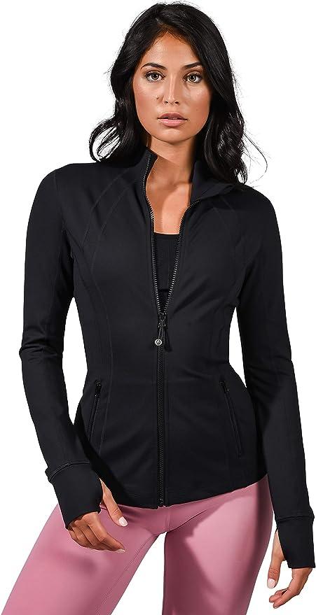 90 Degree By Reflex Women's Lightweight, Full Zip Running Track Jacket - Black - Medium at Amazon Women's Clothing store