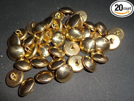warreplica Buttons: Brass Plain Military, Lot of 20, CSA, 19MM, 3/4