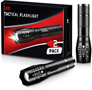 LED Tactical Flashlights Camping Accessories [2 Pack] - High Lumen, Zoomable, 5 Modes, Water Resistant Light- Hiking,Survival, Emergency,Outdoor Gear-Handheld Flashlight by ZAZZIO(Without Batteries)