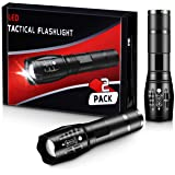 ZAZZIO LED Tactical Flashlights [2 Pack] - High Lumen, Bright, Zoomable, 5 Modes, Water Resistant, Small Portable Light- Hiki