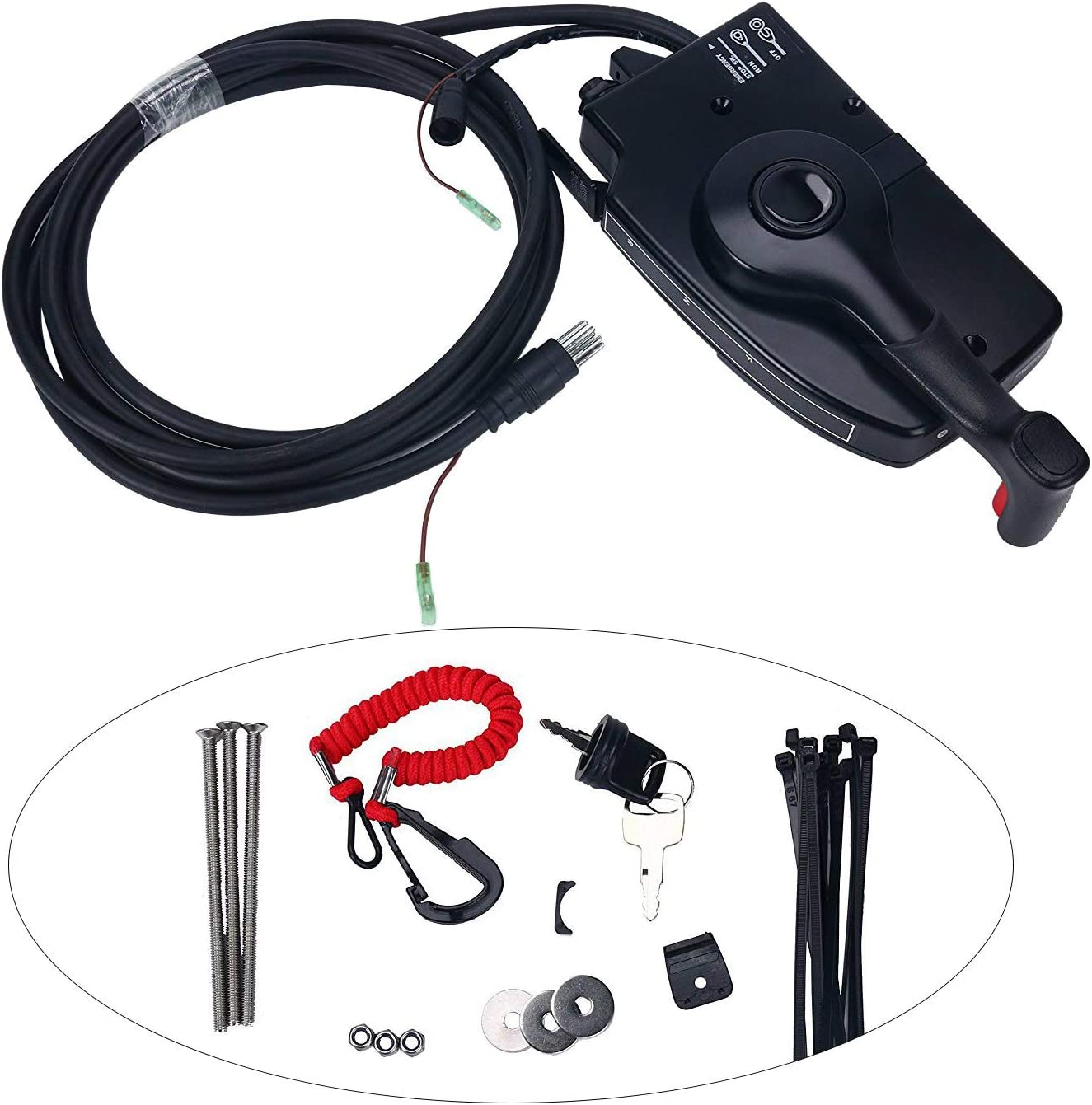 Boat Motor Side Mount Remote Control Box With 8 Pin Cable 15ft For Mercury Black