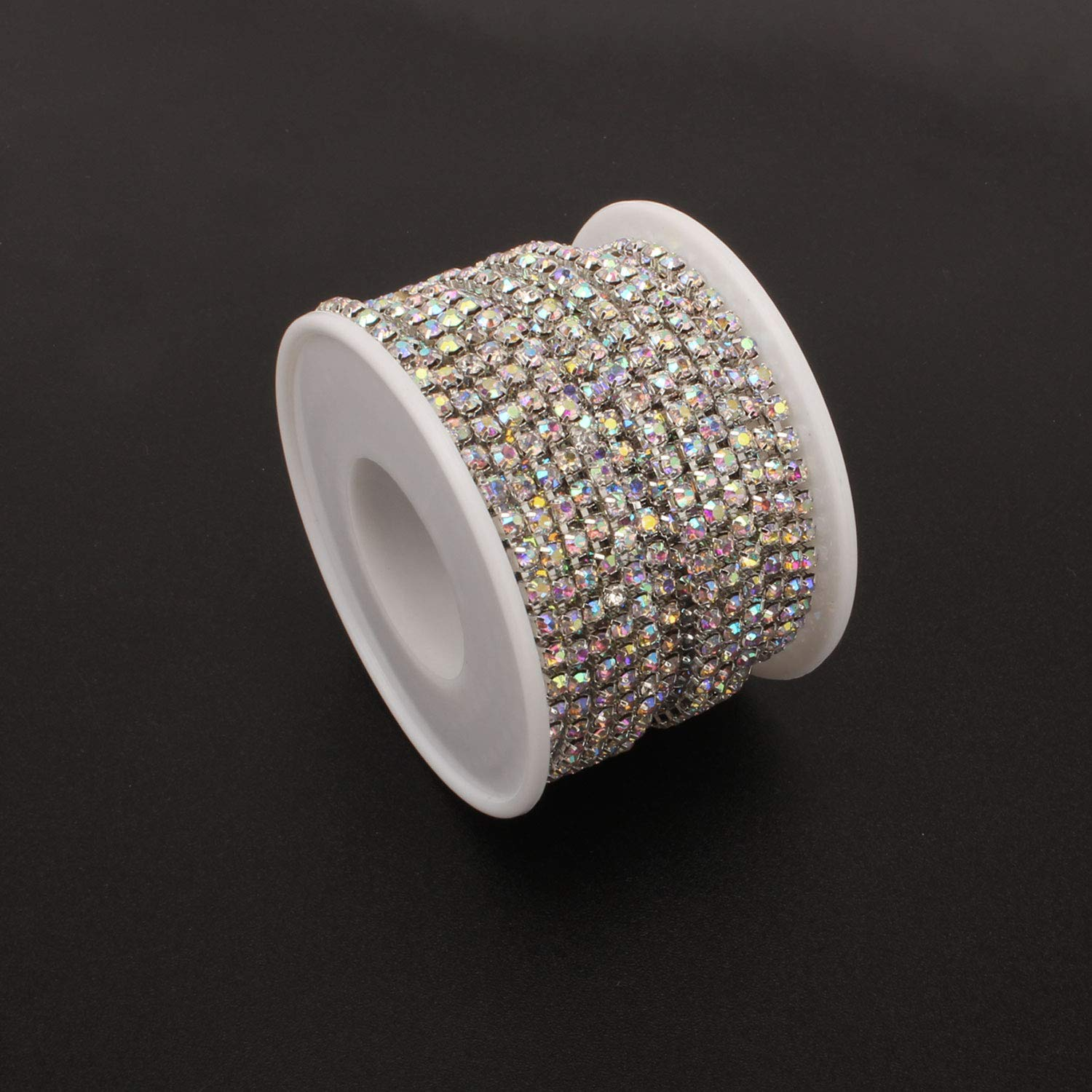 10Yard 3MM Colored Crystal Rhinestone Chain Close Trim Cup Chains Bulk for Craft Jewelry Making Multicolored