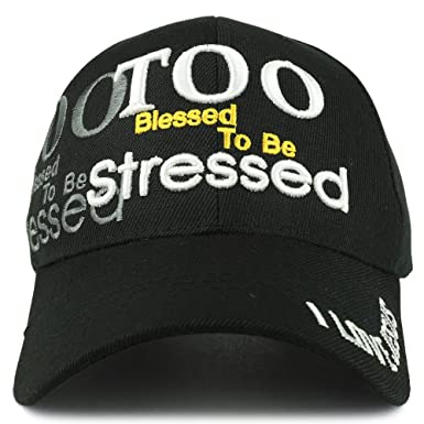 fa6dbfdbc Trendy Apparel Shop Too Blessed To Be Stressed 3D Embroidered Christian  Theme Adjustable Baseball Cap -