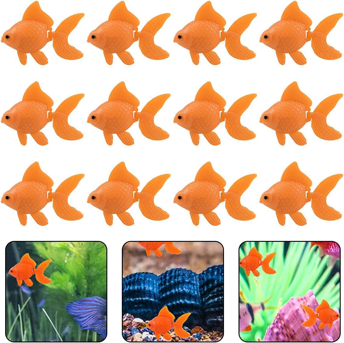 20 Pieces Artificial Goldfish Aquarium Plastic Fish Moving Floating Goldfishes Ornaments Fake Goldfish Decorations for Aquarium Fish Bowl Tank