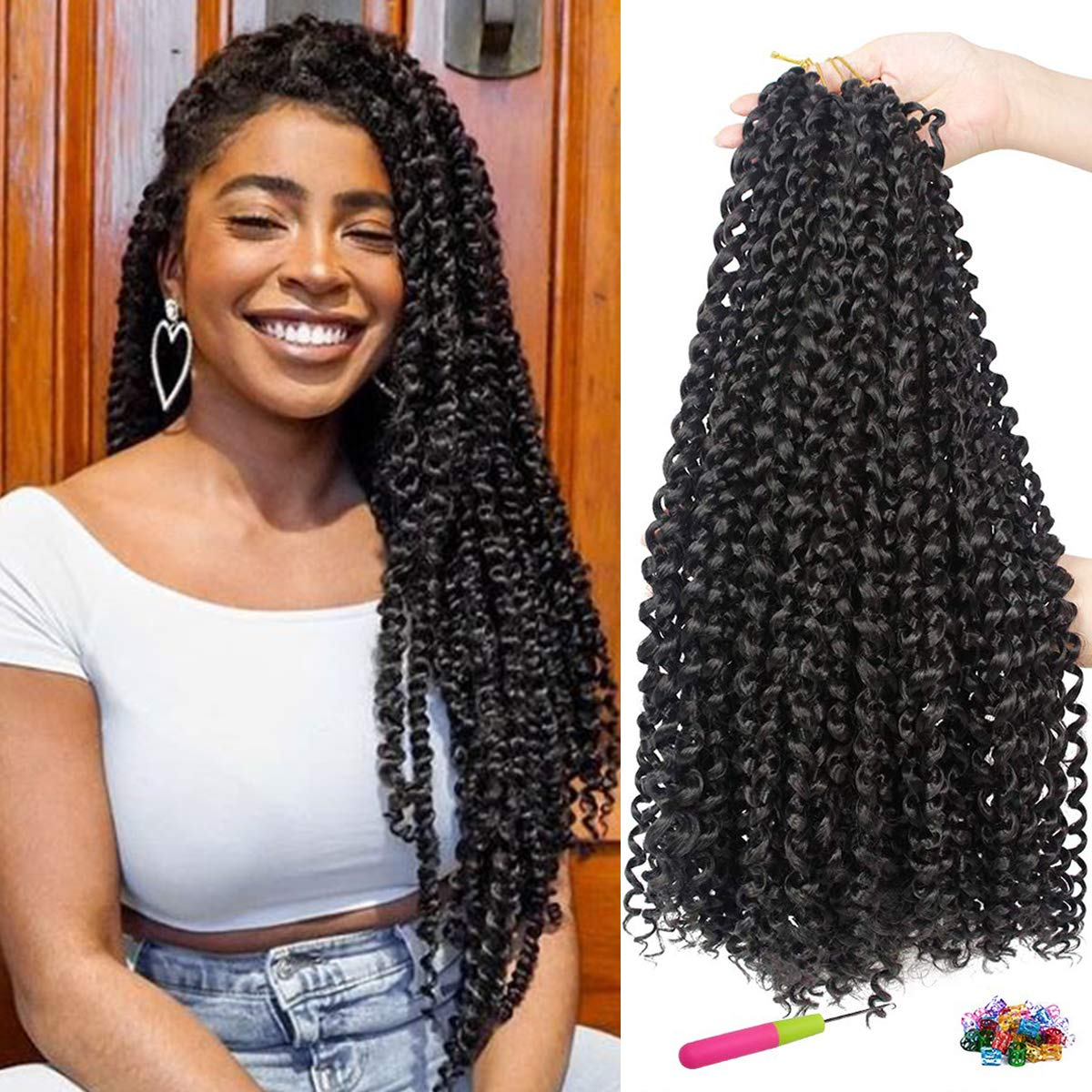 Amazon Com 7 Packs Passion Twist Hair 18 Inches Water Wave Crochet Hair Braids For Butterfly Locs Natural Black Passion Twists Braiding Hair Curly Bohemian Locs Synthetic Hair Extensions 16strands Pack 1b Beauty