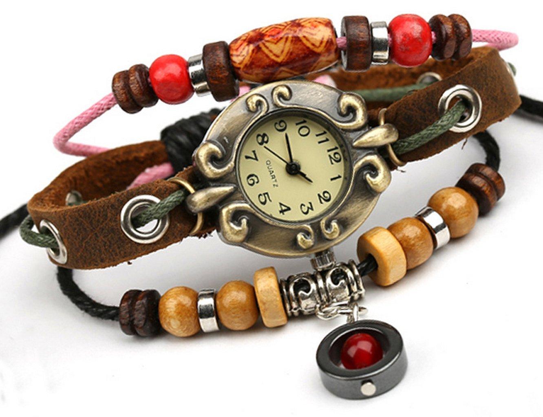 Bohemian Style Multistrand Beaded Wrist Watch Bracelet Steampunk Bracelet