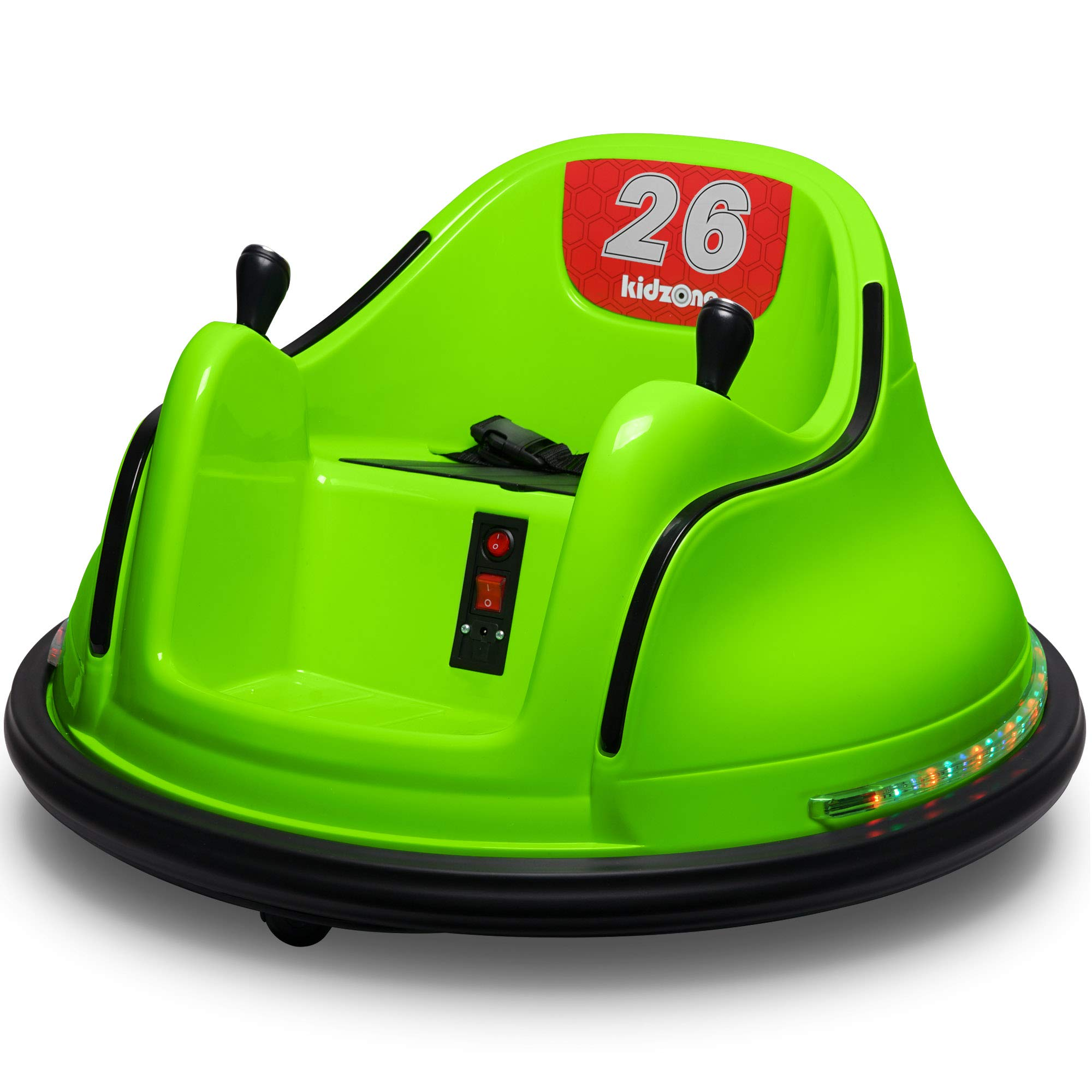 Kidzone DIY Race #00-99 6V Kids Toy Electric Ride On Bumper Car Vehicle Remote Control 360 Spin ASTM-Certified Green