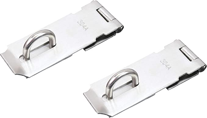 FGen 2pcs Thick Lock 304 Stainless Steel Buckle Can Be Added Padlock Vintage Cabinet 3 Inch Door Buckle Silver