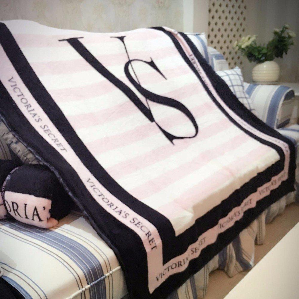 Vs pink bedding sets - Amazon Com Victoria S Secret Black And Pink Striped Blanket Home Kitchen