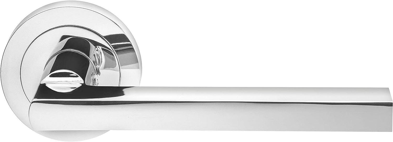 Designer Levers Tiradores de Puerta con diseño de palancas de diseñador Scylla en Acabado de Cromo Pulido, para Uso en Interiores, diseño Redondo y Moderno