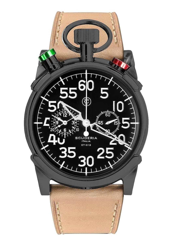 CT Scuderia – CS20105 – 012 – Armbanduhr – Quarz Chronograph – Schwarzes Ziffernblatt – Armband Leder beige