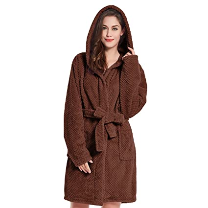DecoKing Albornoz XS Corto Mujer Hombre Unisex Capucha Bata Microfibra Suave Agradable Ligero Fleece Marrón Chocolate