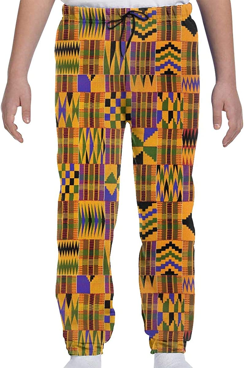 Teenagers Kente Cloth Weaving Print Sports Or Loungewear Trousers Tracksuit Bottoms for Boys Jogging Bottom with Elastic Waist and Pockets Tracksuit Boys
