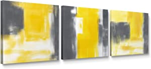 Niwo ART-Grey and Yellow, Abstract Series Canvas Wall Art Home Decor,Stretched Ready to Hang