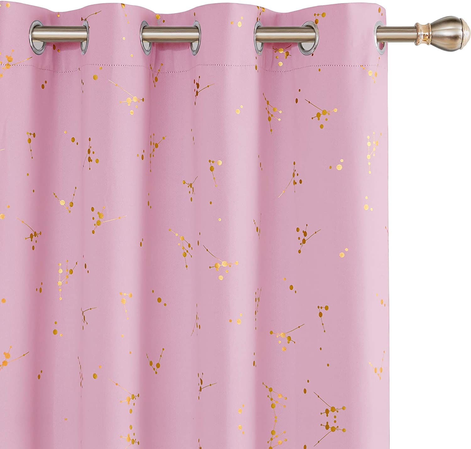 Deconovo Thermal Insulated Curtains Eyelet Blackout Curtains Gold Constellation Printed Curtains for Bedroom with Two Matching Tie Backs Royal Blue W55 x L90 One Pair