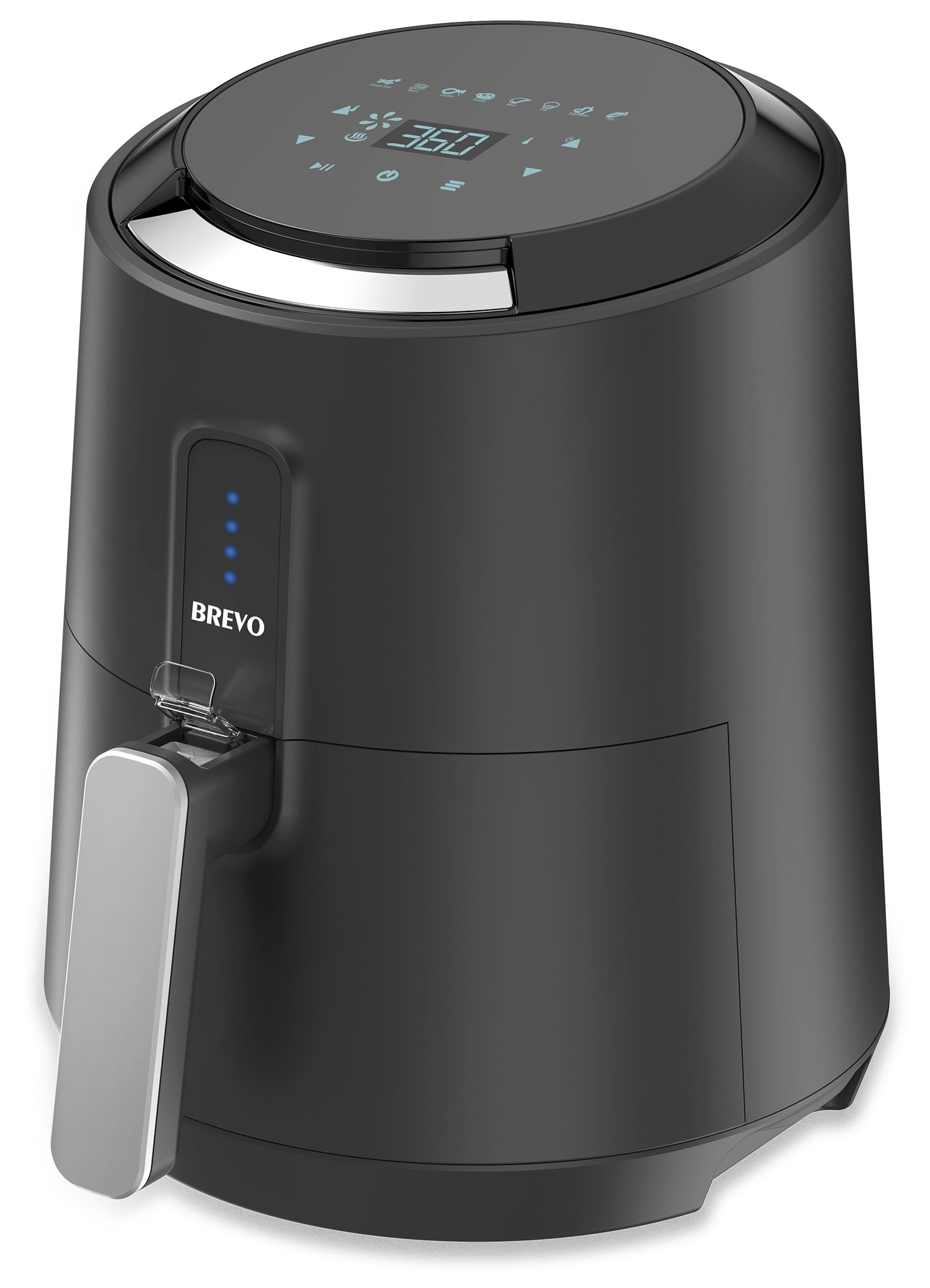 BREVO Digital Automatic Air Fryer Oil-Free Instant Fast Hot Air Frying with 8 Cook Presets Programmable Touch Control 1400W 2.7Qt