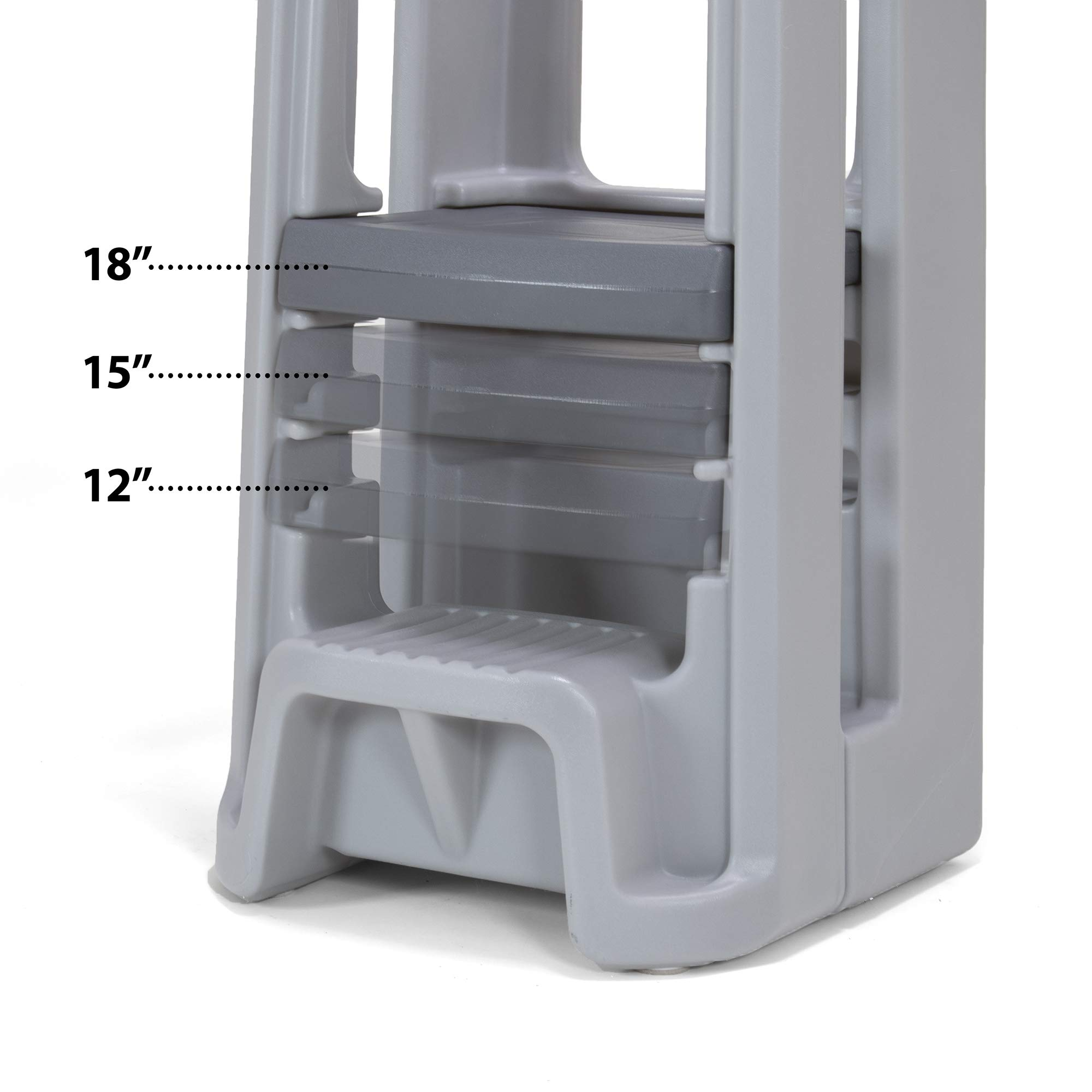 Simplay3 Toddler Tower Childrens Step Stool with Three Adjustable Heights, Gray by Simplay3 (Image #3)