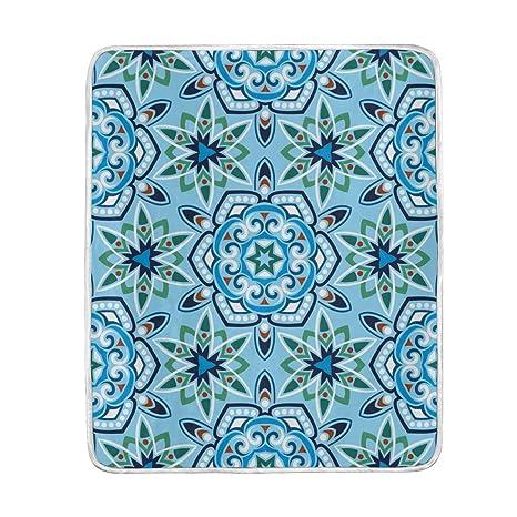 Amazon.com  ColourLife Soft Microfiber Bed Blanket Ethnic Flower ... 5fd933a77