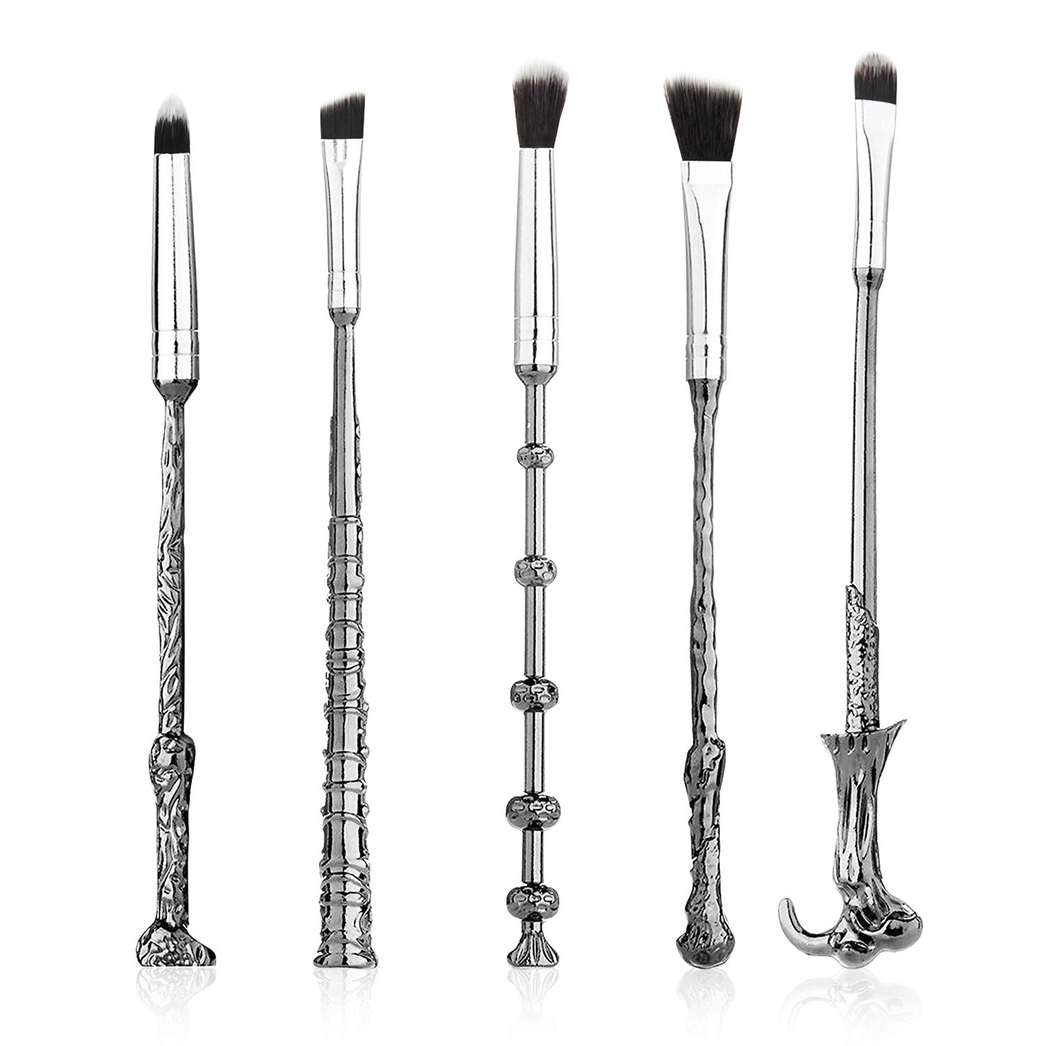 5 Pcs Wizard Wand Makeup Brushes Set, Metal Magic Eye Shadow Eye Liner Lip Brush Silver Cosmetic Brushes Black Soft Hair Beauty Tools with Pouch