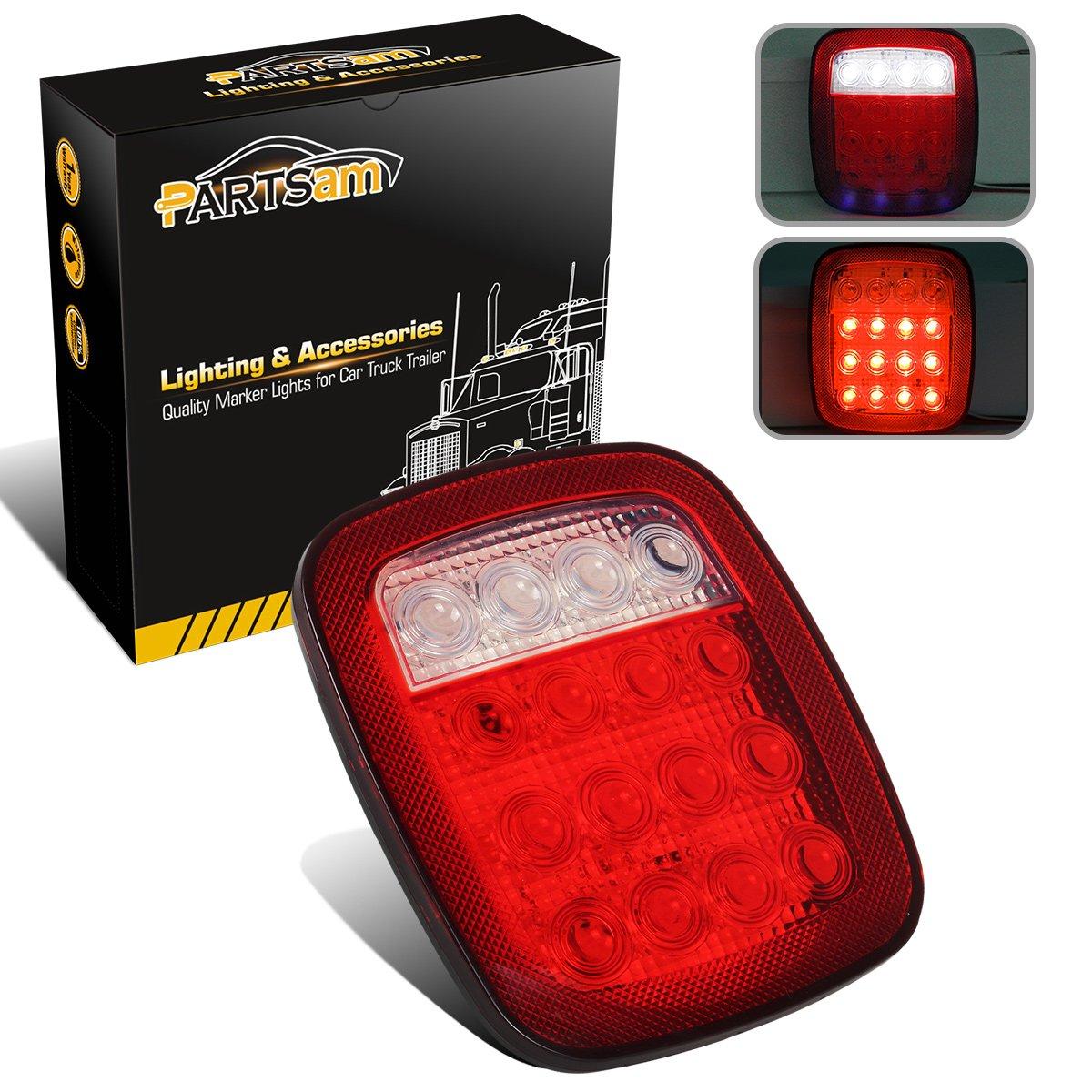 Partsam 2x Universal 16 LED Stop Tail Turn Signal Backup Reverse Brake Clearance Marker Lights Lamps Red/White for Truck Trailer Jeep YJ JK CJ Waterproof 12V Partsam-131703