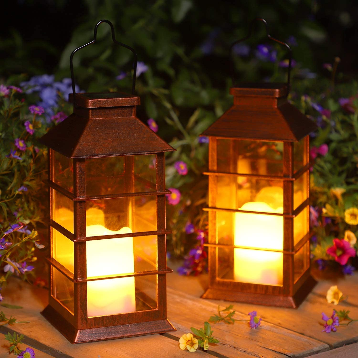 2 Pack Solar Lantern,Outdoor Garden Hanging Lantern-Waterproof LED Decorative Plastic Flickering Flameless Candle Mission Lights for Table,Outdoor,Party