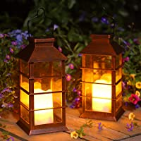Linterna Solar Exterior Lámpara de Jardín, juego de 2, IP44 Impermeable Luces LED Parpadeantes Sin Llama Plástico…