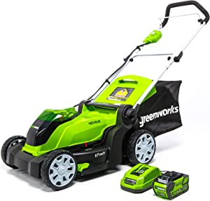 Greenworks 17-Inch 40V Cordless Lawn Mower, 4.0 AH Battery Included MO40B411 (Renewed)
