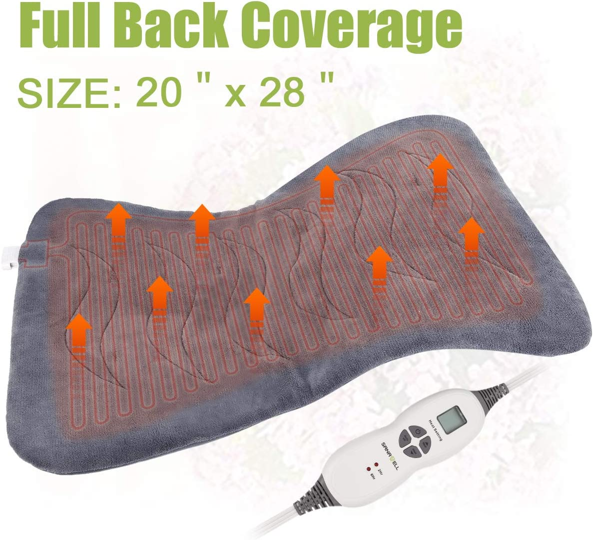 """XXL Back Heating Padfor Cramps Relief with X-Large Size 20"""" x 28"""" - Soft Electric Moist Heat Pad for Full Back with Fast-heating Technology Auto Shut-off, 6 Heat Settings, UL Listed"""