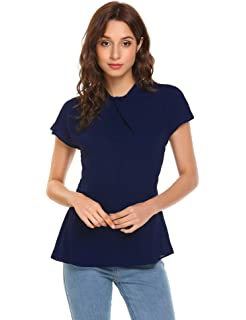 ba873ea3217d Imposes Damen Blusen Chiffon Kurzarm Elegant Oberteil Chiffonbluse Sommer Slim  Fit T Shirt Weinrot Weiß Blau