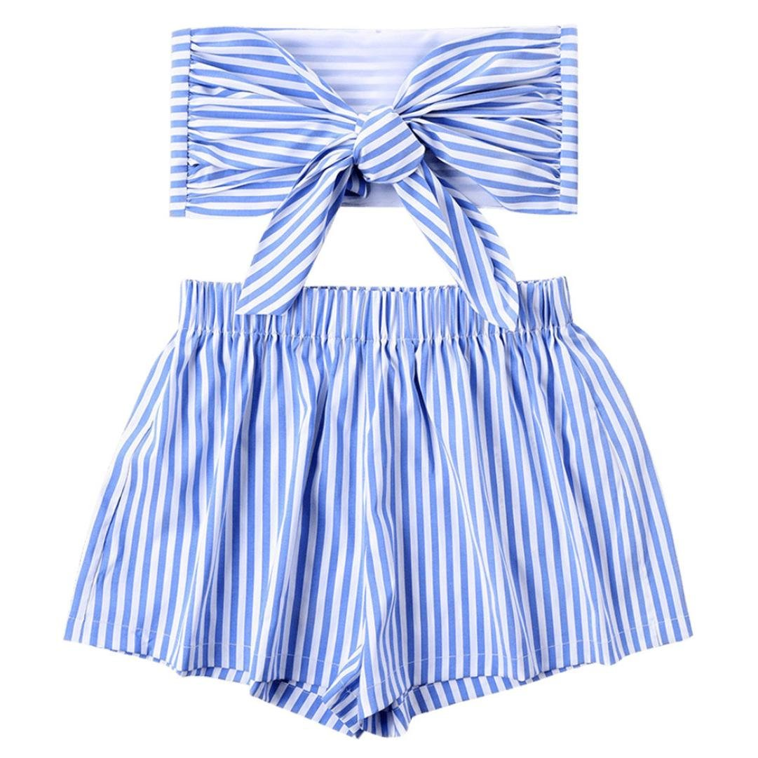 Spbamboo Women Striped Shirt Sleeveless Vest Blouse + Shorts Two-Piece Outfit by Spbamboo