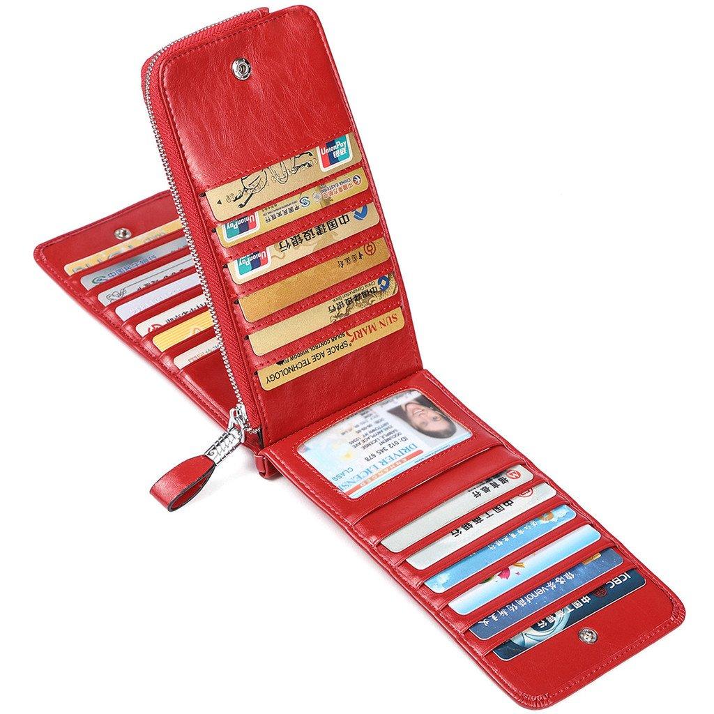 JEEBURYEE Women's Oil Wax Real Leather Multi Credit Card Holder Wallet RFID Blocking Long Bifold Clutch Wallet Ladies Purse with Zipper Pocket Red