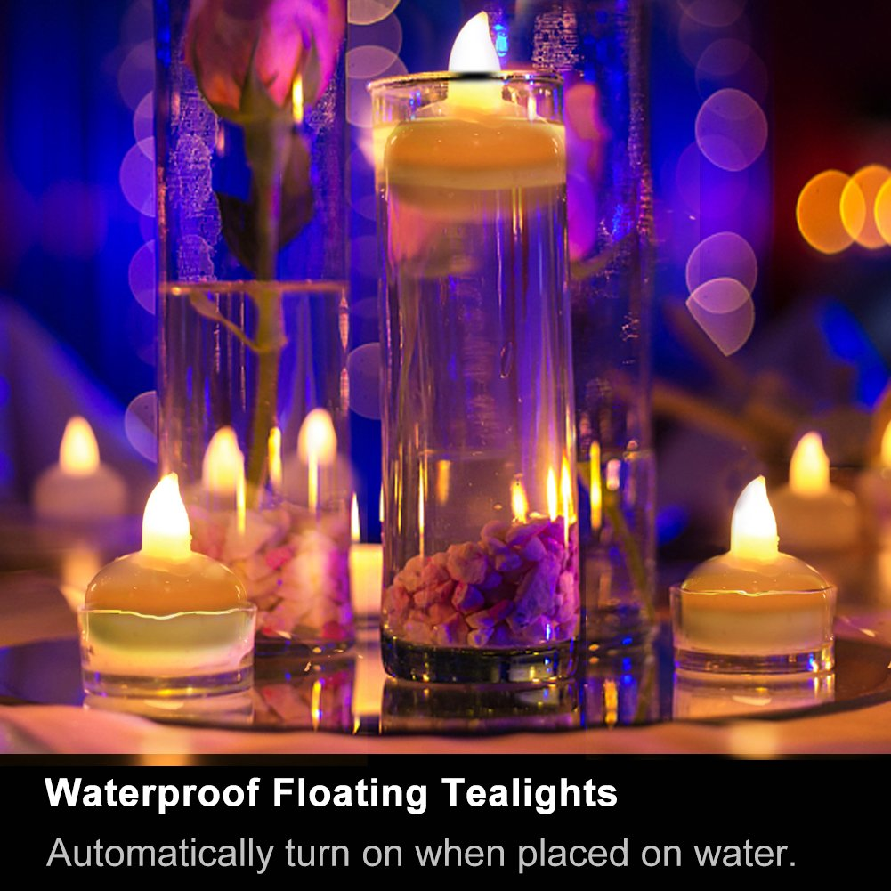 Homemory 24PCS Waterproof Floating Tealights LED Flameless Flickering Tealight Candles Battery Operated for Wedding, Party, Bathroom, Pool, SPA - Amber Yellow by Homemory (Image #1)