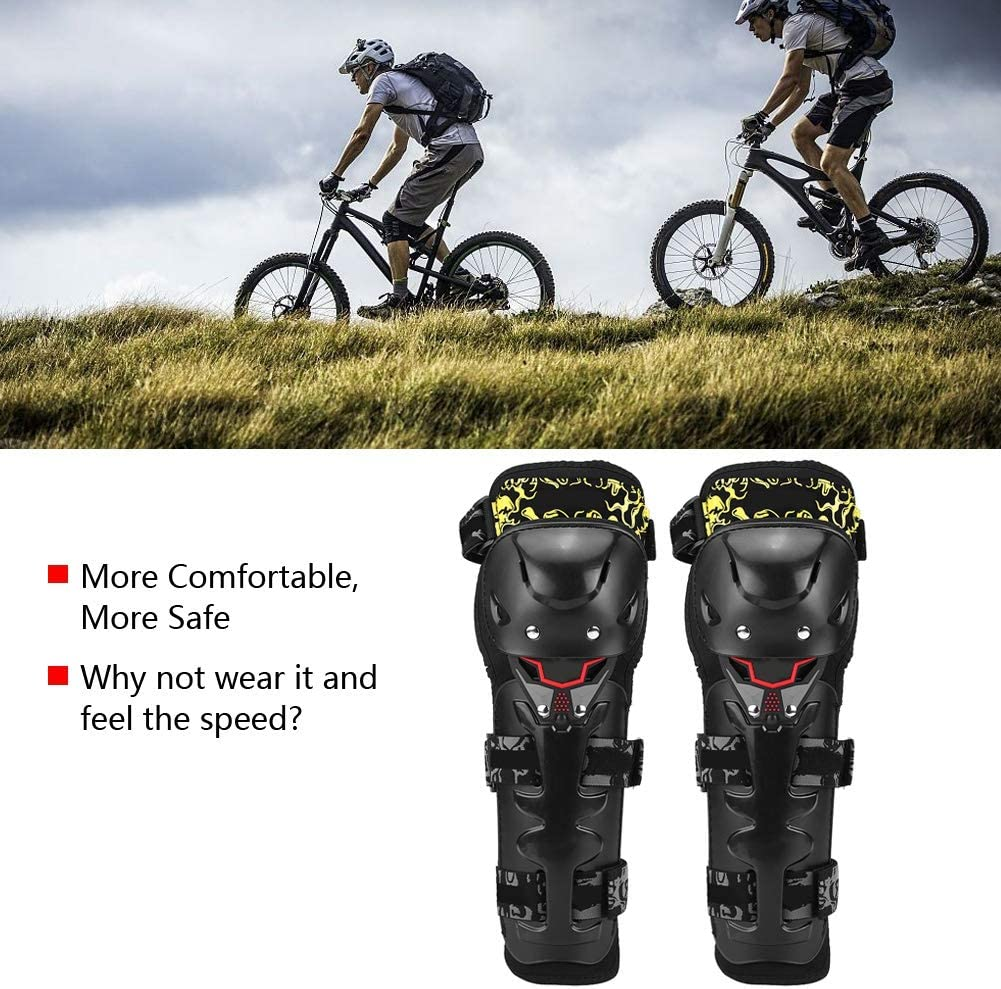 Hlyjoon 2Pcs Motorcycle Knee Pads Yellow ABS Moto Protective Gear Kneepad Guard Pad Breathable Anti-slid Motocross Brace Knees Elbow Shin Guards Armor Set for Motobike Cycling Racing Dirt Bike