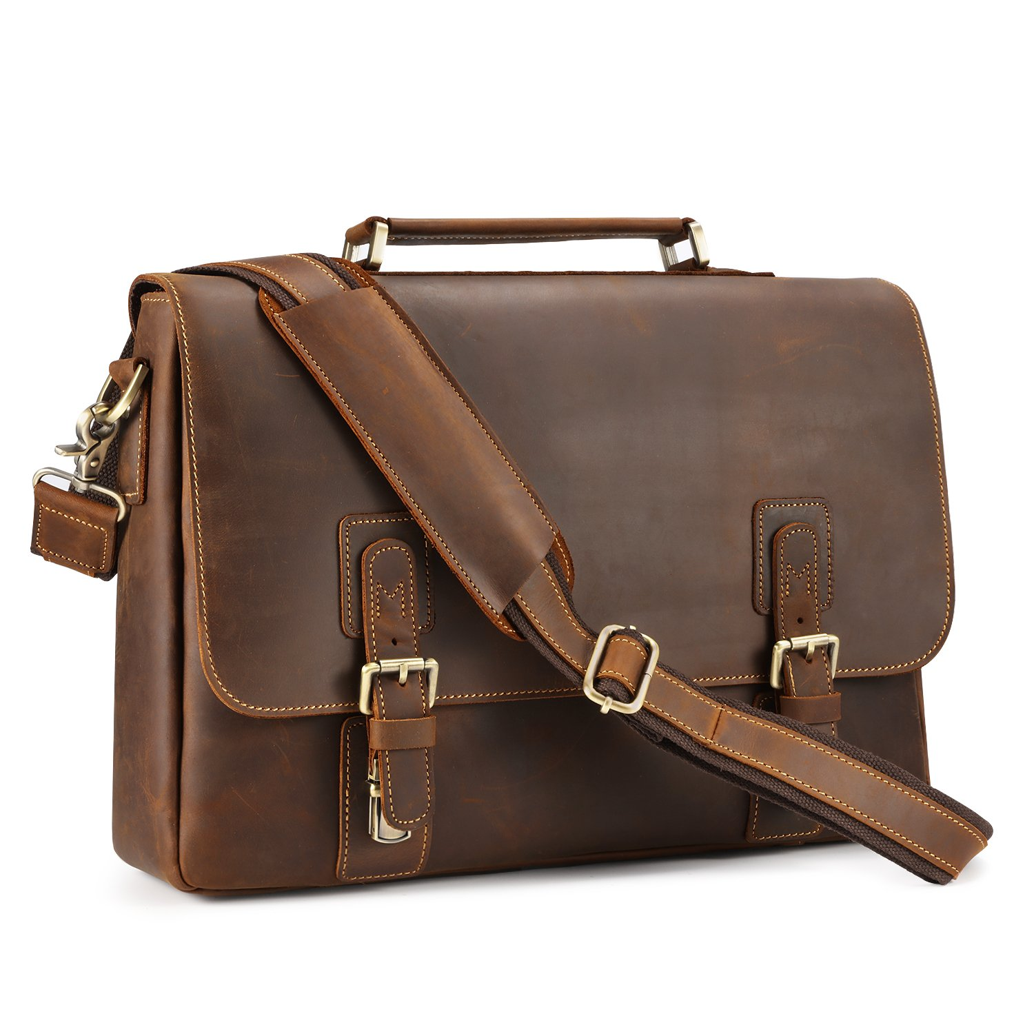 Kattee Men's Crazy Horse Leather Shoulder Briefcase, 14