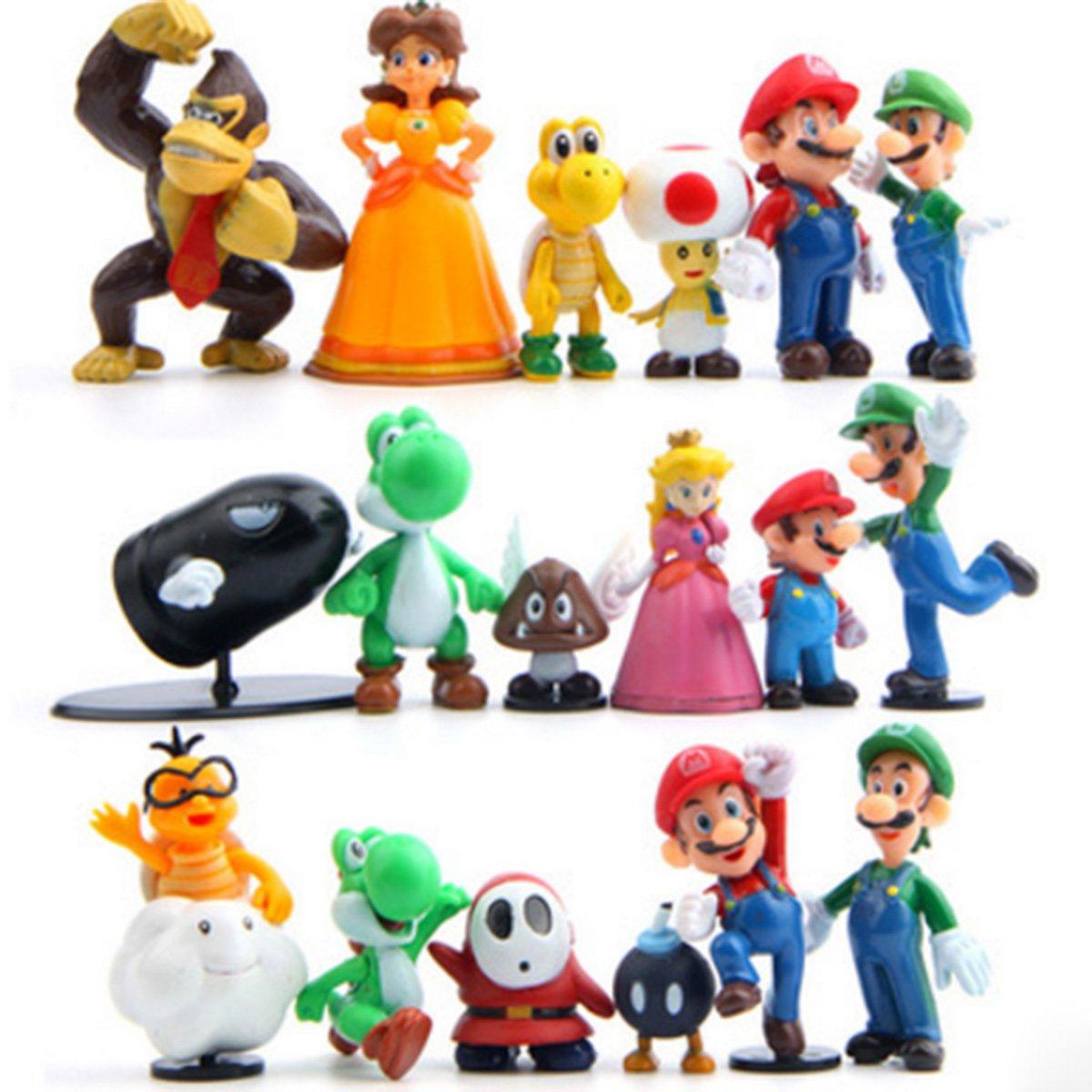 18 Piece Super Mario Bros Super Mary Princess, Turtle, Mushroom, Orangutan , Super Mary Action Figures, 2''