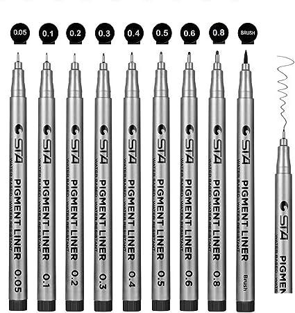 0.3mm BLACK TECHNICAL DRAWING PEN WATERCOLOUR OUTLINE FINE ART LINE PIGMENT INK