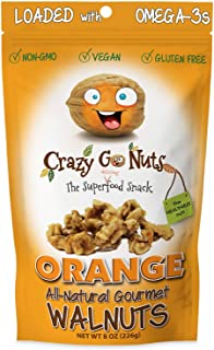 product image for Crazy Go Nuts Walnuts - Orange, 8 oz (1-Pack) - Healthy Snacks, Vegan, Gluten Free, Superfood - Natural, Non-GMO, ALA, Omega-3 Fatty Acids, Good Fats, and Antioxidants