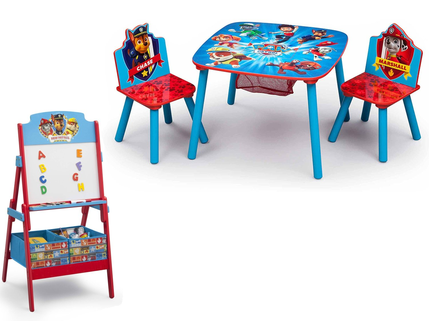 NEW! Paw Patrol Activity Table Set and Delta Children Paw Patrol Activity Easel with Toy Storage Bins
