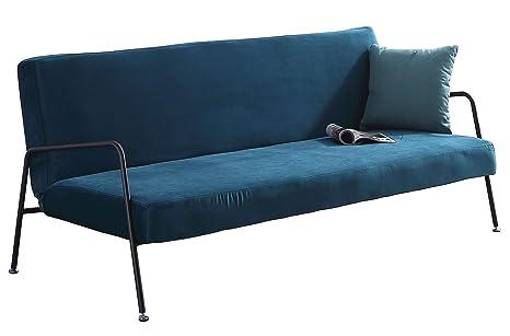 SUEÑOSZZZ - Sofa cama SKULL de 3 plazas color Aguamarina, estructura plegable con sistema clic clac. Sofa tres plazas para salon | Sofa con respaldo ...
