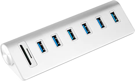 Cateck USB 3.0 6-Port Aluminum Hub with 2-Slot Card Reader Combo and 5V/4A High-Capacity Power Supply for iMac, MacBook Air, Mac Pro,MacBook Pro, ...