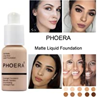 Foundation Liquid,Walaha Foundation Full Coverage New 30ml PHOERA 24HR Matte Oil Control Concealer Liquid Foundation (E) (Nude #102)