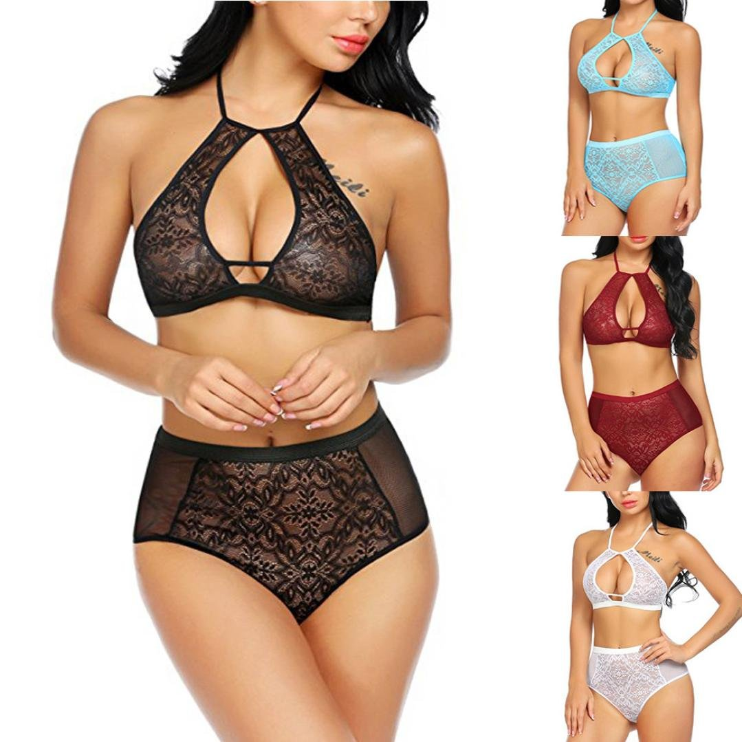 ac4d1fe89e832 Amazon.com  Rambling 2018 New Women Sexy High Waisted Lingerie Set Lace Keyhole  Halter Bra and Panty Set S-XXL  Clothing