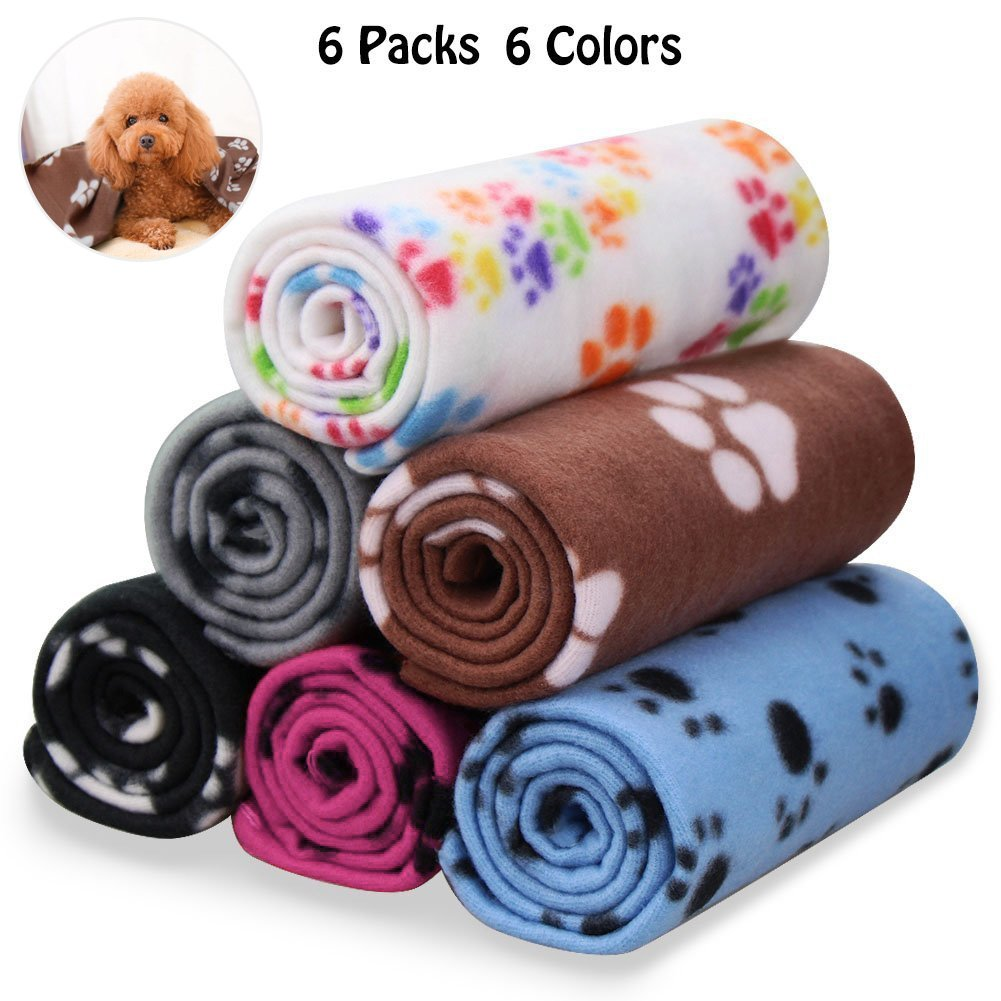 Comsmart Pet Blanket Dog Cat Soft Fleece Blankets Sleep Mat Pad Bed Cover with Paw Print for Kitten Puppy and Other Small Animals (New 6 Pack of 24x28 Inches)
