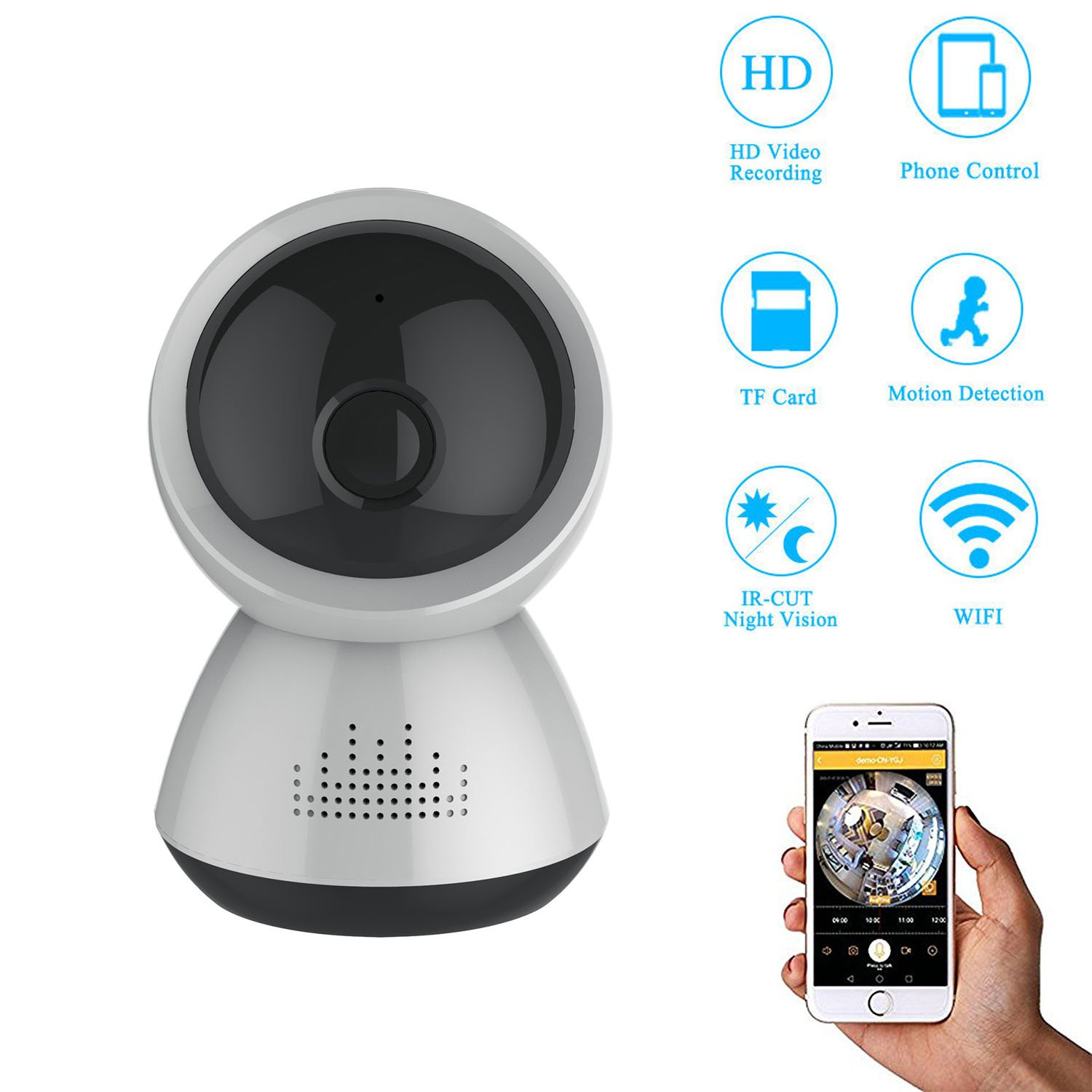 eoqo 1080P HD Little Snowman 180°View Angle Dome IP Camera Wireless Network IP Security Surveillance with Night Vision and Wide Angle Lens