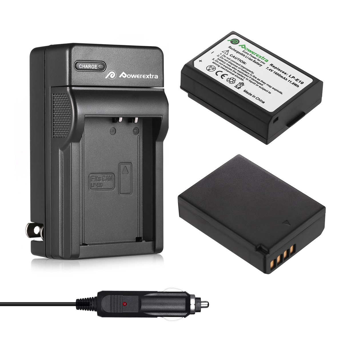 Powerextra 2 Pack Replacement Canon LP-E10 7.4V 1600mAh Li-ion Battery and Charger Compatible With Canon EOS Rebel T3, T5, T6, Kiss X50, Kiss X70, EOS 1100D, EOS 1200D, EOS 1300D Digital SLR Camera